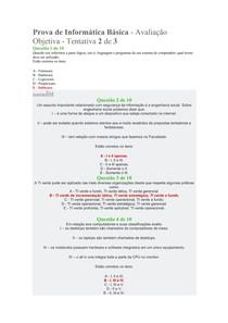 Avaliação Objetiva - Tentativa 2 de 3- Informática Básica