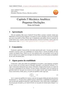 Pequenas Oscilações: Mecânica Analítica -Nivaldo Lemos- Notas de Estudo