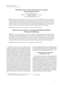 De Onde Viemos(int) Uma Revisão Histórico-Conceitual da Psicoterapia de Casal - Artigo