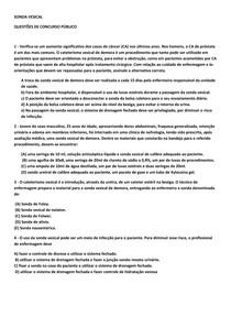 QUESTÃO DE CONCURSO PUBLICO - SONDA VESICAL