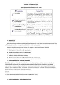 Teorias da Comunicação - Mass Communication Research