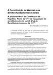 A Constituição de Weimar e os direitos fundamentais sociais