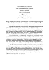"""Resenha sobre """"Educação Ambiental e a população favelada na  zona de amortecimento do Parque Nacional da Tijuca, entre a estigmatização e o protagonismo: o caso do Vale Encantado"""""""