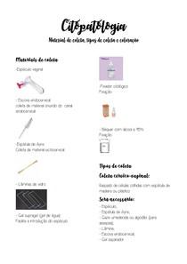 Material de coleta, tipos de coleta e coloração