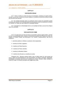 LEI DE ABUSO DE AUTORIDADE 11869 - 2019