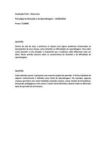 PROVA FINAL DISCURSIVA DE PSICOLOGIA DA EDUCAÇÃO E DA APRENDIZAGEM 22/06/2018 7134891