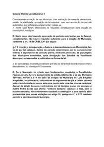 Atividade de Constitucional II - Criação de Município