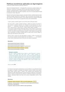 Políticas econômicas aplicadas ao Agronegócio - Avaliação