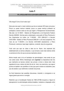 Aula 05   Planejamento Governamental