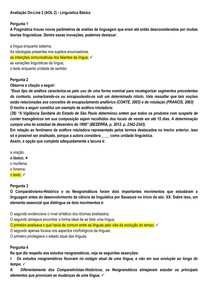 AOL 2 - Linguística Básica - UNINASSAU - 2020.1