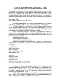 NOMENCLATURA GRAMATICAL BRASILEIRA (NGB)