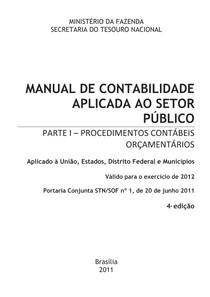 MANUAL DE CONTABILIDADE APLICADA AO SETOR PÚBLICO