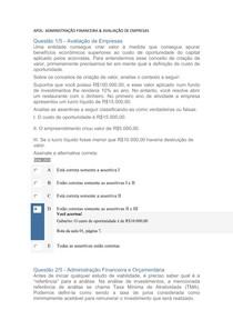 ADMINISTRACAO FINANCEIRA E ORCA & AVALIACAO DE EMPRESAS Apols 1 à 5