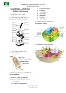 Estudo Dirigido - Introdução a Citologia e Microscopia