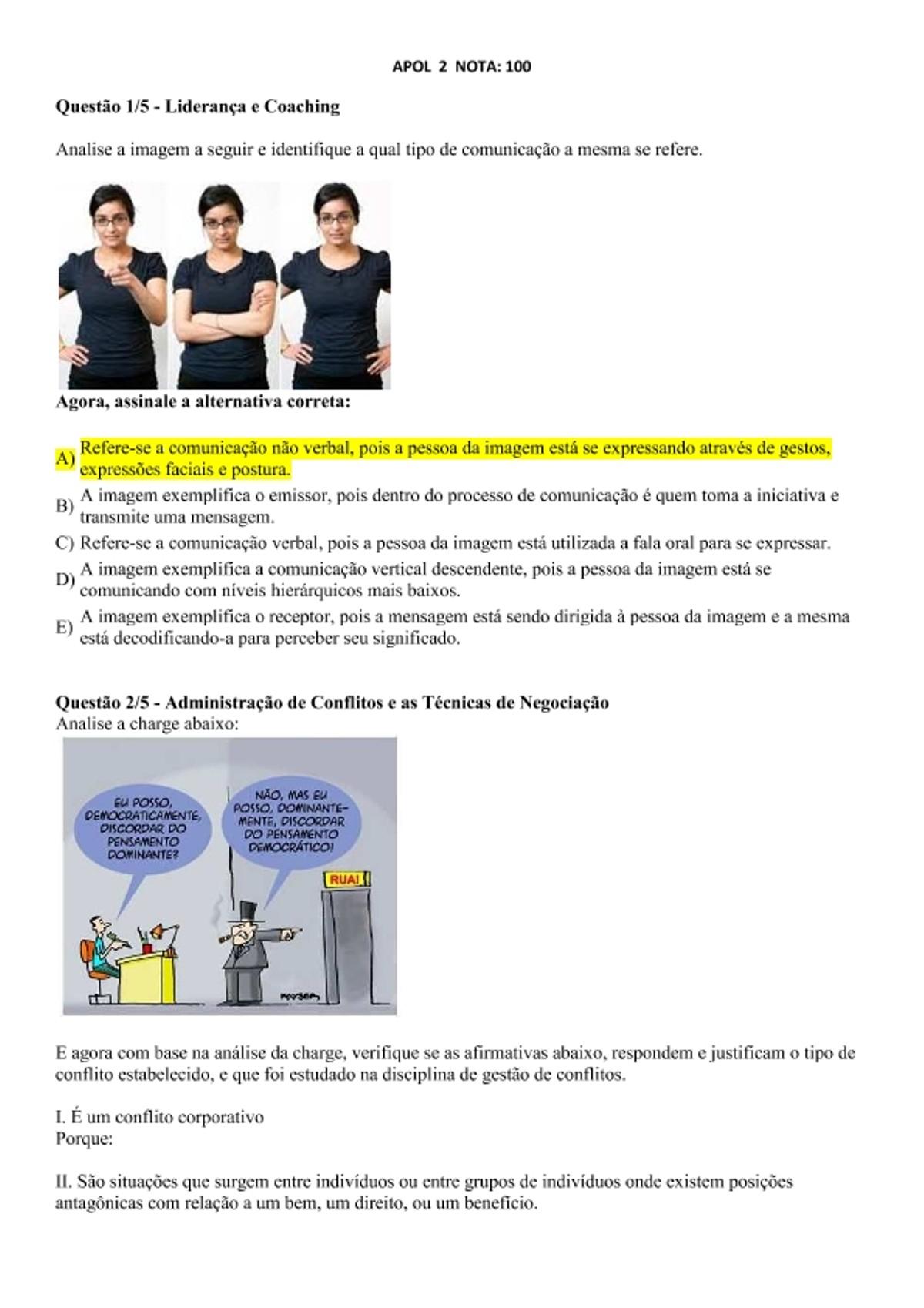 Pre-visualização do material APOL  2 ADM DE CONFLITOS E LIDERANÇA E COACHING - página 1