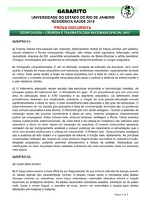 gabarito discursiva 2018 RESIDENCIA CIRURGIA BUCOMAXILOFACIAL UERJ