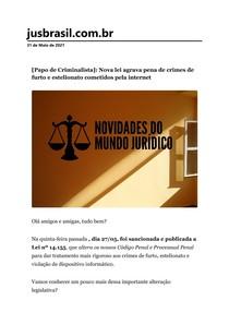 [Papo de Criminalista]_ Nova lei agrava pena de crimes de furto e estelionato cometidos pela internet