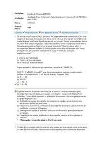 Avaliação 3 Objetiva Final - Uniasselvi - Prova 5597652 - Disciplina - Gestão de Projetos (EPR20) - Aplicada em 12/06/2017