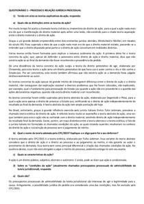 Questionários de Processo e Relação Jurídica Processual - NP1