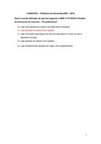 Questão sobre tipos de Lajes - FUNDATEC Prefeitura de Santa Rosa-RS 2018