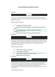 AOL 2 METODOLOGIA DO ENSINO DE HISTÓRIA