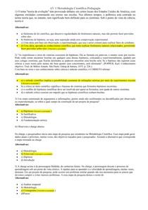 AV 1 Metodologia Cientifica  Pedagogia 1º semestre