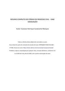 RESUMO COMPLETO DE PROCESSO CIVIL - OAB/ GRADUAÇÃO