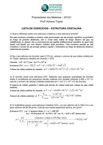 Lista - Estruturas Cristalinas -Exercícios Resolvidos - Propriedades dos Materiais Civis