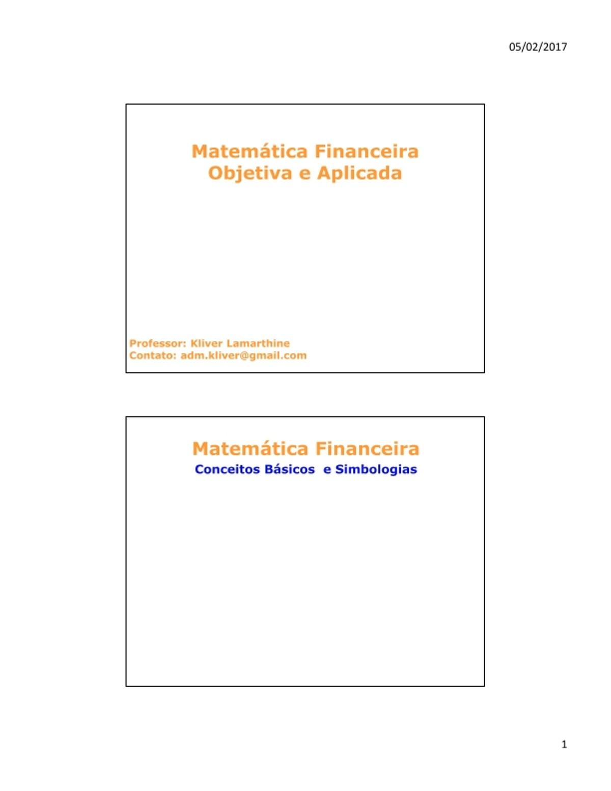 Pre-visualização do material Matematica Financeira - Conceitos Basicos e Simbologia - página 1