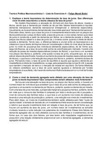 Teoria e Política Macroeconômica I Lista de Exercícios 4 Felipe Moreti Bolini