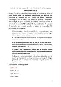 Questão sobre Estrutura de Concreto - UNOESC Pref Municipal de Iraceminha-SC 2016