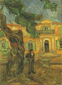 Vincent Willem van Gogh-pinheiros com Figura-em-o Jardim-de-Saint-Paul-Hospital