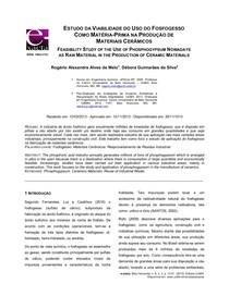ESTUDO DA VIABILIDADE DO USO DO FOSFOGESSO   IMPORTANTE PARA MODELO DE TCC