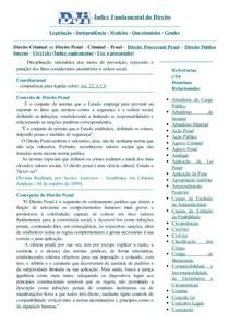 DJi - Conceito  Concepção  Função Ético-Social e Objeto do Direito Penal ou Criminal