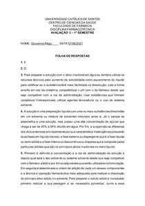 Avaliação 3 - Folha Resposta
