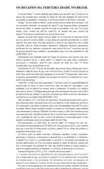 OS DESAFIOS DA TERCEIRA IDADE NO BRASIL - Artigo com referências