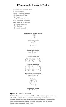 Fórmulas de Eletrodinâmica