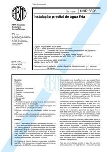 NBR 5626 - 98 - Instalacao predial de agua fria
