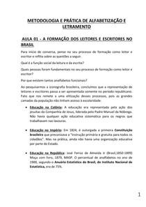 METODOLOGIA E CONTEUDO DE ALFABETIZAÇÃO E LETRAMENTO  AULAS DE 1 A 10