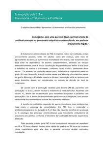 Pneumonia - Tratamento e Profilaxia