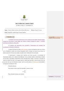 RELATÓRIO PADRONIZAÇÃO DE SOLUÇÕES
