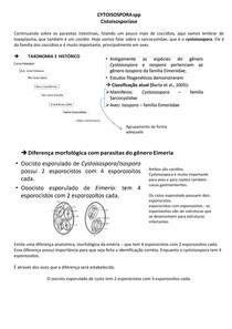 CYTOISOSPORA - CISTOISOSPORÍASE