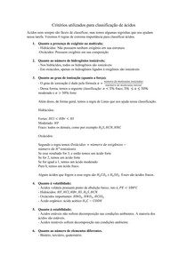 Critérios utilizados para classificação de ácidos