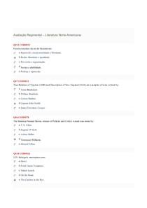 Avaliação Regimental :  Literatura Norte-Americana