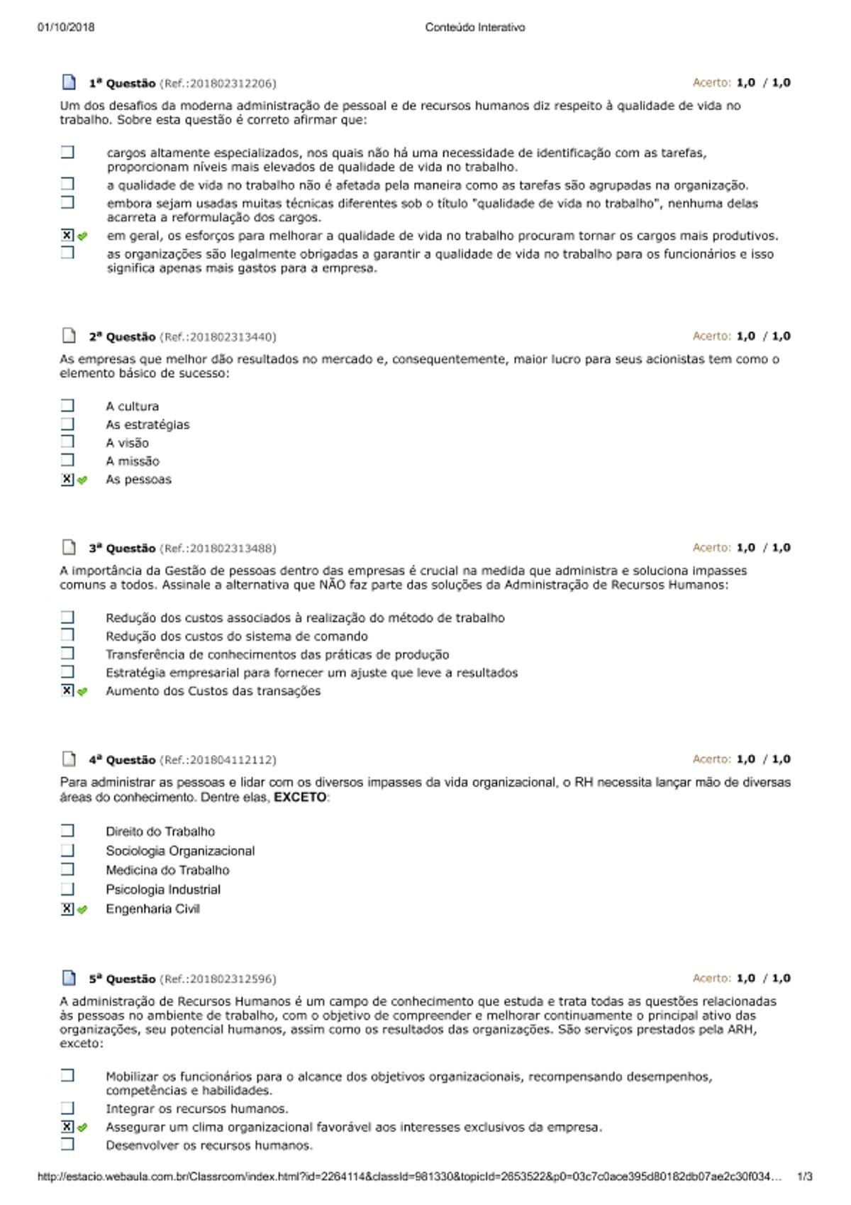 Pre-visualização do material Avaliação Parcial - Gestão Integrada de RH - página 1