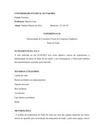 Química orgânica experimental - relatório 01