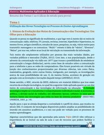 Multimeios Aplicados à Educação - Resumo dos Temas 1 a 6