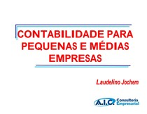 CONTABILIDADE PARA PEQUENAS E MEDIAS EMPRESAS