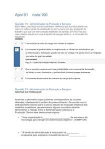 Apol 01    ADMINISTRAÇÃO DA PRODUÇÃO E SERVIÇOS