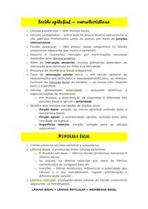 Resumo Histologia - Tecido Epitelial - Características Gerais